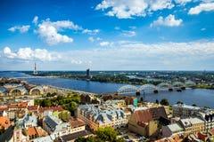Flyg- sikt för Riga centrum royaltyfria foton