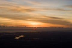 flyg- sikt för soluppgång för brisbane stadsflod Arkivbild