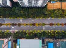 Flyg- sikt för stadsväg royaltyfri foto