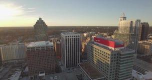 Flyg- sikt för surr av stadshorisont Raleigh, NC
