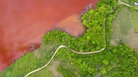 Flyg- sikt för surr 4k av färgrikt rött kopparbryta förlorat vatten i motsats med den nya gröna skogen arkivfilmer