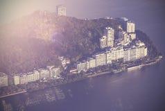 Flyg- sikt för tappning av Rio de Janeiro, Brasilien Royaltyfria Foton