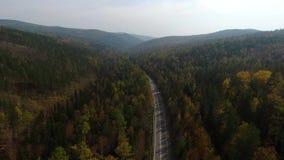Flyg- sikt för videopn surr över vägen i skogen på vägen till Lake Baikal arkivfilmer