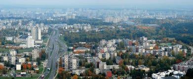 Flyg- sikt för Vilnius stad - litauisk huvudsikt för fågelöga Fotografering för Bildbyråer