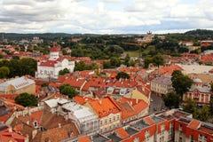 Flyg- sikt för Vilnius stad, Vilnius, Litauen Arkivfoton