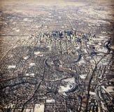 Flyg- sikt för vinter av Calgary Alberta Arkivfoton