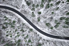 Flyg- sikt för vinter av vägen i skog Arkivbilder