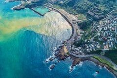 Flyg- sikt för Yinyang hav - berömda loppdestinationer av Taiwan, panorama- bird's synar sikt royaltyfria bilder