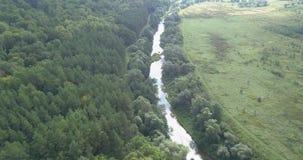 flyg- sikt Flyga över den lilla flod- och skoglandskappanoraman arkivfilmer