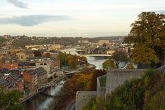 Flyg- sikt, från citadellen, av staden av Namur, Belgien, Europa royaltyfri fotografi