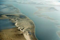 Flyg- sikt från den Schleswig-Holstein Wadden havsnationalparken Arkivbild
