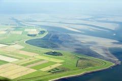 Flyg- sikt från den Schleswig-Holstein Wadden havsnationalparken Fotografering för Bildbyråer