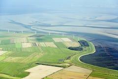 Flyg- sikt från den Schleswig-Holstein Wadden havsnationalparken Royaltyfria Bilder