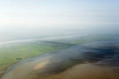 Flyg- sikt från den Schleswig-Holstein Wadden havsnationalparken Arkivfoto