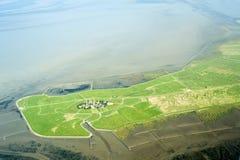 Flyg- sikt från den Schleswig-Holstein Wadden havsnationalparken Arkivfoton