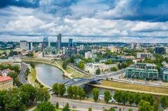 Flyg- sikt från det Gediminas tornet Fotografering för Bildbyråer