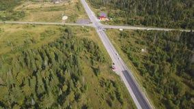 Flyg- sikt från ovannämnt av landsvägen till och med den gröna sommarskogen i sommar skjutit Bilkörning Sikt för hög vinkel av lager videofilmer