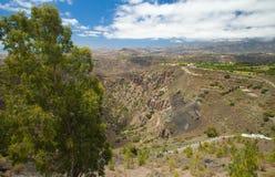 Flyg- sikt från Pico de Bandama Arkivfoto
