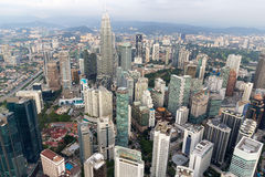 Flyg- sikt för Kuala Lumpur cityscape Arkivfoton