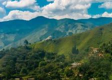 Flyg- sikt för landskap av Medellin Colombia Arkivbild