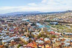 Flyg- sikt Georgia för Tbilisi centrum Royaltyfri Foto