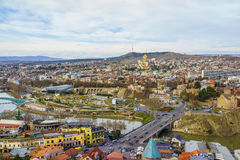 Flyg- sikt Georgia för Tbilisi centrum Fotografering för Bildbyråer