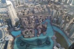 Flyg- sikt i stadens centrum Dubai Royaltyfria Foton