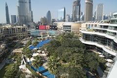 Flyg- sikt i stadens centrum Dubai Fotografering för Bildbyråer