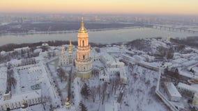Flyg- sikt Kiev-Pechersk Lavra i vintern, Kiev, Ukraina arkivfilmer