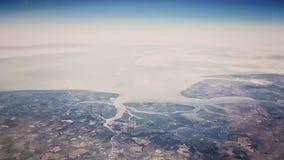 Flyg- sikt - land och hav Arkivfoto