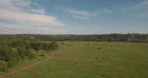 flyg- sikt lantlig väg bland fält och elektrisk hög-spänning service bygdväg mellan det gröna fältet 4K arkivfilmer