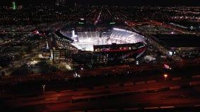 Flyg- sikt Lincoln Financial Field på natten arkivfilmer