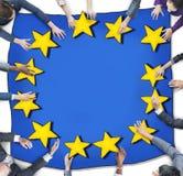 Flyg- sikt med affärsfolk och den europeiska fackliga flaggan Royaltyfri Fotografi