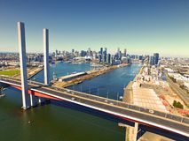 Flyg- sikt Melbourne CBD Arkivbilder