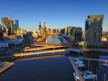 Flyg- sikt Melbourne CBD Royaltyfri Bild