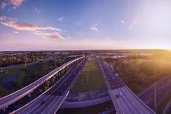 Flyg- sikt mellanstatliga 4 i Sanford Florida Royaltyfri Bild