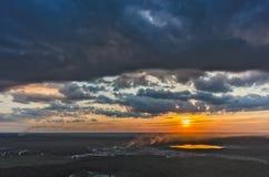 Flyg- sikt ovanför industriområde Vinzili Ryssland arkivfoto