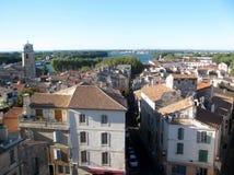 Flyg- sikt på den gamla staden av Arles, Frankrike royaltyfri bild