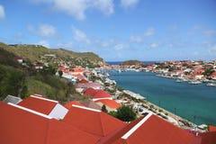 Flyg- sikt på den Gustavia hamnen i St Barts Royaltyfria Foton