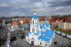 Flyg- sikt på den Znamensky domkyrkan Tyumen Ryssland Royaltyfria Bilder