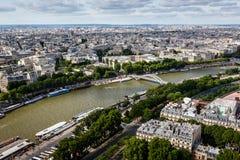Flyg- sikt på floden Seine från Eiffeltorn, Paris Arkivbild