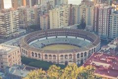 Flyg- sikt på Malaga med tjurfäktningsarenan av La Malagueta Cityscapenolla Royaltyfria Bilder