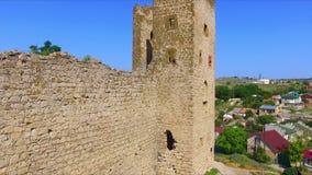 Flyg- sikt på medeltida genoese fästning arkivfilmer