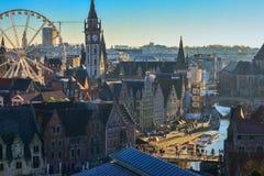 Flyg- sikt på mitten av den gamla staden av Ghent i Belgien Royaltyfri Fotografi