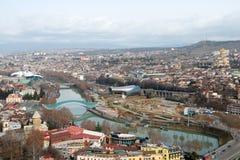 Flyg- sikt på mitten av Tbilisi Royaltyfri Bild