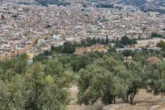 Flyg- sikt på moroccan stad Royaltyfri Bild