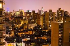 Flyg- sikt på natten, New York City Royaltyfria Bilder