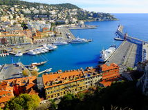 Flyg- sikt på port av Nice, Frankrike Royaltyfri Fotografi