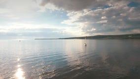 Flyg- sikt på segelbåten på floden mot himlen lager videofilmer