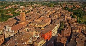 Flyg- sikt på Siena, Arkivfoto